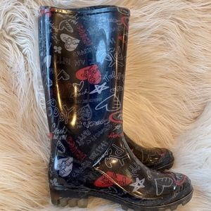 Coach Poppy Rain Boots Black Size 6 Red Black